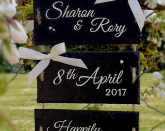 Personalised Wedding Gift - Slate sign with wedding details-hanging wall plaque