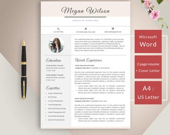 Resume template for Word - Instant download CV template - Creative resume with cover letter, icons and multiple pages - easy to edit