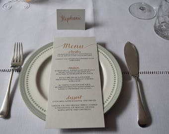 Pale Grey and Gold Place Cards