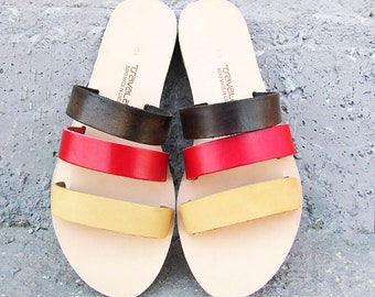 Triple Strap Sandals Handcrafted in Greece by Tsavalas