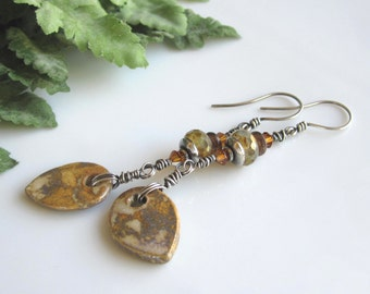 Wire Wrapped Sterling Silver Earrings Porcelain Leaf Beads Czech Beads Swarovski Crystals On Sale