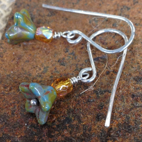 Bellflower - Czech glass and sterling earrings - made to order