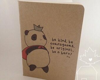Hero Panda Field Notebook - Handmade Blank Pocket Sketchbook
