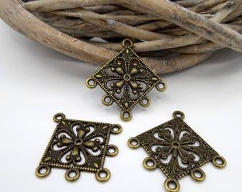 4 hearts shape connectors/chandeliers diamond metal bronze 6 holes