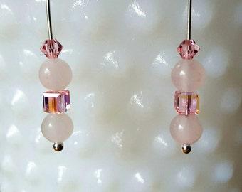 "Rose Quartz Earrings in Sterling Silver with Swarvoski Crystals, custom made, 3"" long, Natural Pink Gemstone Earrings, Light Love Heart#S363"