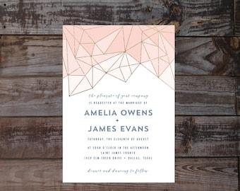 Modern Wedding Invitations, geometric Wedding Invitations, gold Wedding Invitations, printed Wedding Invites, navy blush Wedding Invitations