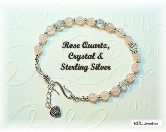 Rose Quartz Bracelet, Heart Chakra Bracelet, Rose Quartz Crystal, Rose Quartz Jewelry - B2017-03
