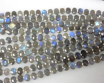2 Strand Full Flash Blue Fire Labradorite Gemstone Faceted Oval  Beads AAA Quality Size - 6x8MM Wholesale Price