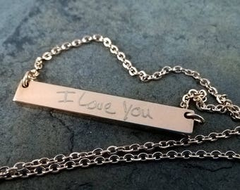 Hand Written Necklace, Personalized Handwriting Jewelry, Rose Gold Necklace, Custom Message, Mother's Day Gift, Custom Bar Necklace