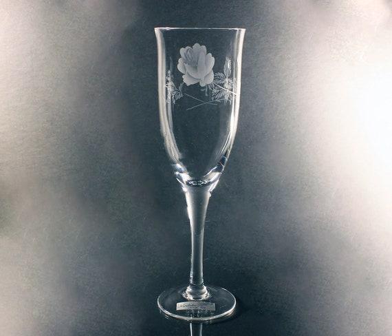 Noritake Crystal Champagne Flute, Virtue, Etched, Rose Pattern, Wine Glass, Barware, Stemware, Original Paper Sticker