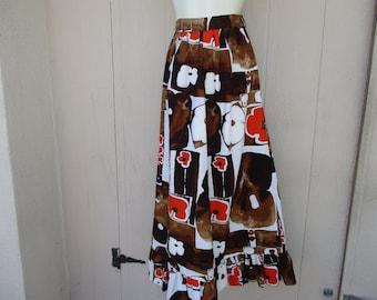 70's Ladies 'Hawaiian Bark Cloth'  Earth Tones, Handmade  Maxi Skirt