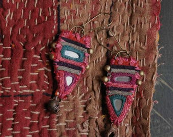 ethnic textile earrings