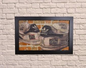 Industrial Adidas Black Frame Brick Wall Graffiti Style Artwork. Graffiti Style Art. Steampunk & 3D Ceramic Brick Panels and Framed. UK MADE