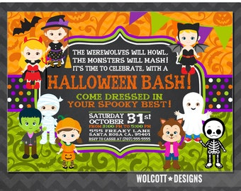 Halloween Party Invitation, Kids Halloween Party, Costume Party Invitation, Printable,