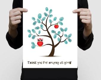 printed teacher appreciation artwork fingerprint tree print - gift for the teacher, teacher thank you classroom gift, apple owl personalized