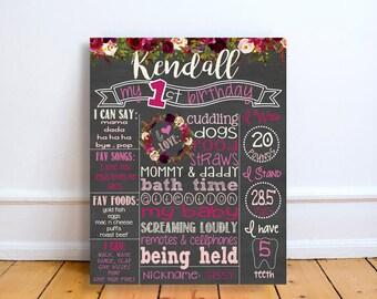 First Birthday Chalkboard, Floral Chalkboard Sign, 1st Birthday Chalkboard, Girl First Birthday Chalkboard, Floral Birthday Sign, Flowers