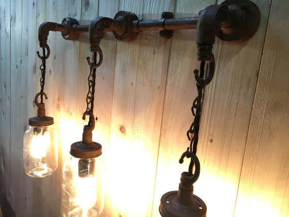 Steel Conduit Pipe Hanging Wall Or Ceiling Mason Jar Light