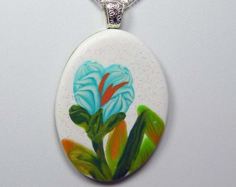 Polymer Clay Oval Pendant. Floral Design Pendant. Polymer Clay Necklace.