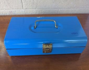 """Vintage Blue Metal Toolbox, 11"""""""