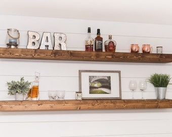 "LONG Floating Shelf (54""), Floating Shelves, XL Floating Shelf, Kitchen Shelf, Rustic Shelf, Farmhouse Decor, Wall Shelf, Living Room Decor"