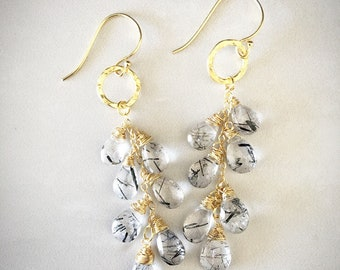 Rutilated quartz and gold vermeil dangle earrings
