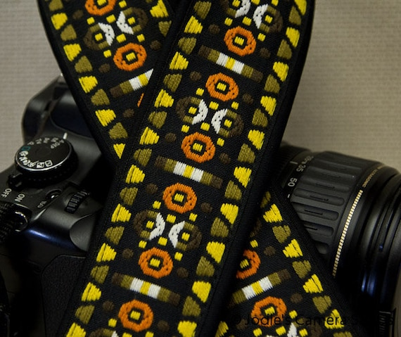 Camera Strap 2 in Wide Custom Padded Vintage Woven Circles Triangles Yellow Orange DSLR SLR 5501