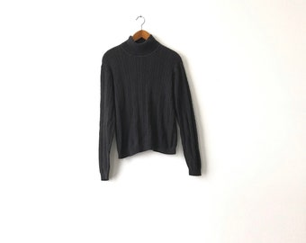 Faded Black Turtleneck Sweater - Small / Turtleneck / Turtleneck Sweater / Knit Sweater / Faded Sweater / Cable Knit / Thin Sweater / 90s