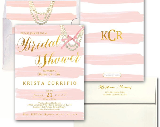Blush Pink Gold Bridal Shower Invitation // Pink Stripes / Watercolor / Gold Foil Print / Wedding / Bridal Invite / SANTA BARBARA COLLECTION