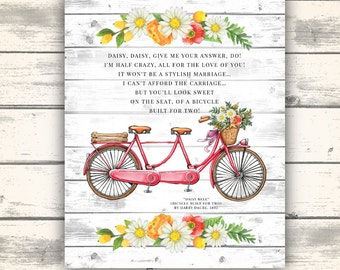 Bicycle Built for Two Printable, Bicycle Built for Two Lyrics, Cute Bicycle Printable Art, Printable Shower Gift