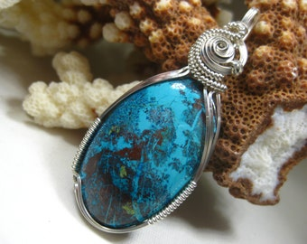A+ Quality Shattuckite Pendant in Argentium Sterling Silver Hand-Turned Wire