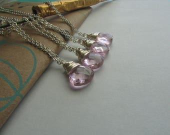 Set of 4- Bridal Gift Pink Faceted Briolette Glass Necklace, Pink Necklace, Glass Necklace