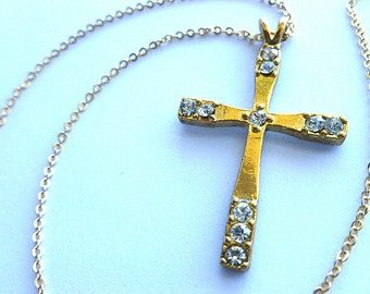 BE SHINY Goldtone Rhinestone Cross, Goldtone Cross with Faux Diamonds, Gold Cross and Neck Chain, Vintage Cross Necklace, Gold and Crystals