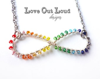 Neurodiversity Pride Rainbow Infinity Symbol wire-wrapped necklace