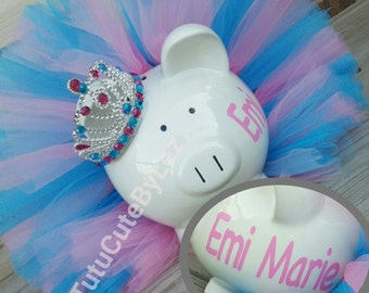 Large Personalized Light Pink and Blue Tutu Piggy Bank