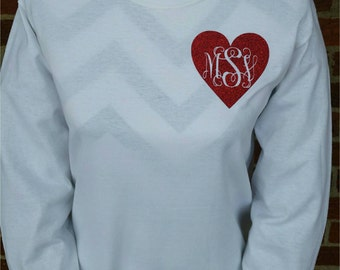 Valentine's Day Monogram Shirt - Monogram Valentine Shirt - Valentines Day Shirt - Long Sleeve Youth and Adult Available