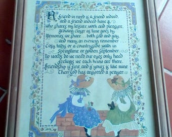 Friends poem in pine frame. Calligraphy and picture