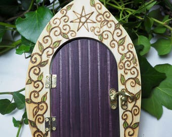 Gorgeous Wooden Fairy Star Door - Opens - Magic, Fey, Faery, Faerie - Pagan, Wicca, Witchcraft