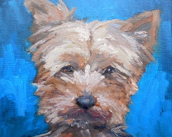 "Yorkshire Terrier Painting, Yorkie, Pet Portrait, Dog Painting, 8x8x1.5""     Oil, Free Shipping in US"