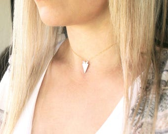 Arrowhead Choker Necklace, Dainty Choker Necklace, Layering Necklace, Dainty Silver or Gold Necklace, The Silver Wren, Arrowhead Necklace