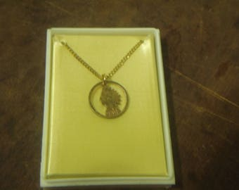 1905 Indian Head Cut Out Penny Necklace