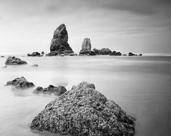 Cannon Beach - Oregon Coast - Washington Landscapes, Black and White Matted Photograph in a Wood Frame