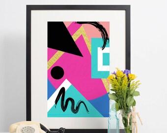 Geometric Abstract Art Print- Call Me Later