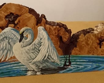 Trumpeter Swan Original Oil Painting on Wood Burl