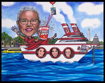 Custom caricature, retirement gift, retirement for women, retirement for men, retirement cartoon, retirement caricature, boat caricature,