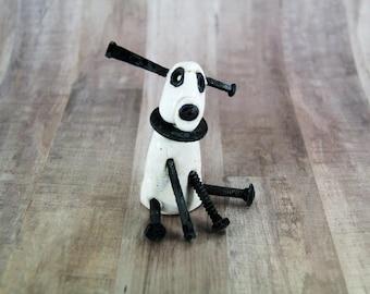 screwy dog, bolt dog, ceramic dog, dog figurine, clay dog, white dog, dog art, dog