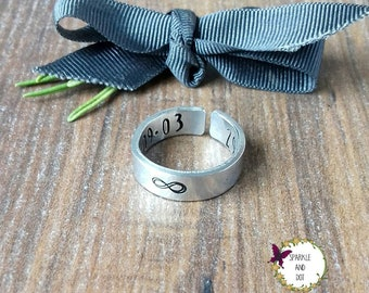 Infinity Design Ring, Hand Stamped Cuff Ring, Custom Date Cuff Ring, Special Date Memento, Personalised Jewellery,