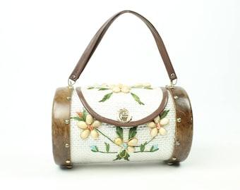 Vintage 70s Handbag Wood Woven Raffia Seashell Box Purse Floral 1970s Hippie Boho Festival Fashion