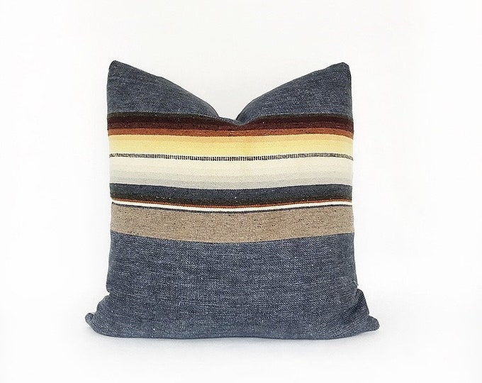 Vintage Wool Mexican Serape Blanket And Indigo Belgian Linen Pillow Cover 20x20