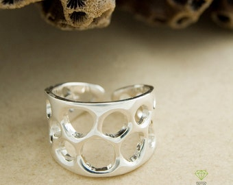 Silver Alliances Cells, Open Band Ring, Coral Silver Ring, Handmade Ring, Unisex Wedding Rings, Boho Style, Contemporary jewelry