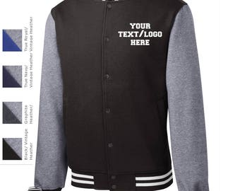 Custom Made Sport-Tek® Fleece Letterman Jacket  ST270  Vinyl or Glitter Print Customized All Colors Letter Jacket